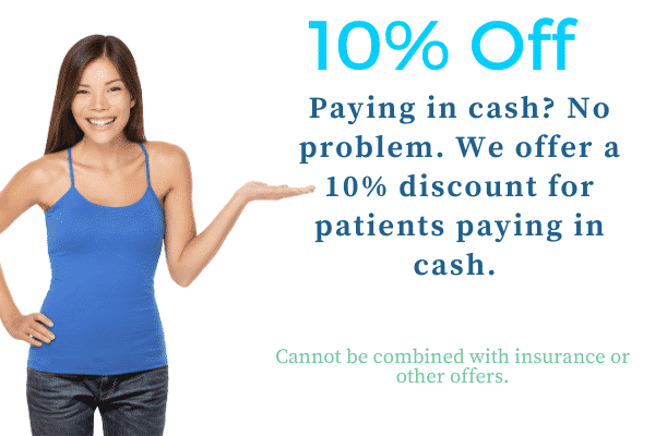 discounted dental treatment 10% off for cash payers